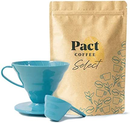 Pact Coffee Starter Kit - 500g Freshly Roasted and Ground Speciality Coffee from Brazil + Hario V60 Teal Coffee Dripper Size 02, 40 Coffee Filter Unbleached, Measuring Scoop