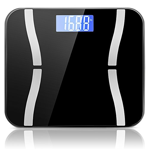 SZHSR Body Weight Scales, Digital Bathroom Scales, High Accuracy Ultra Thin Tempered Glass with Unit kg / lb/ St, Weight Capacity 400 pound Ship From U.S. Warehouse (Black) ()