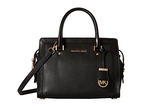 Michael Kors Collins Women's Leather Medium Satchel Handbag Black