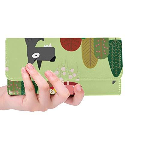 Unique Custom Red Riding Hood Big Bad Wolf Women Trifold Wallet Long Purse Credit Card Holder Case Handbag]()