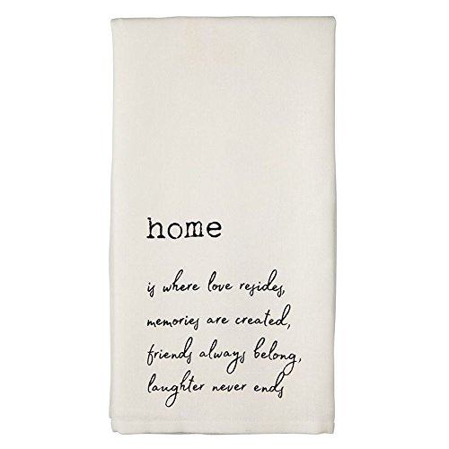 "Mud Pie""""Home is Where Love Resides. Hand Towel, 26"" x 16.5"", White from Mud Pie"