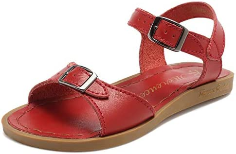 U3ELTLX002 WALUCAN Girls Leather Sandals Open-Toe Adjustable Flat Sandal Casual Shoes Outdoor and Indoor Toddler//Little Kid//Big Kid//Womens