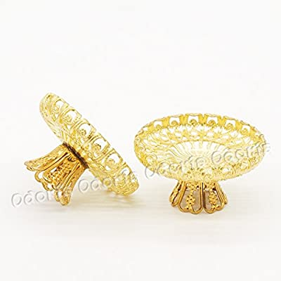 Odoria 1:12 Miniature 2pcs Cake Stand Golden Delicate Compote Fruit Tray Dollhouse Kitchen Accessories: Toys & Games