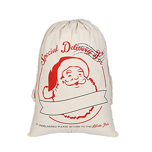 (Christmas Cotton Bags Santa Bag Burlap Xmas Presents Storage for Kids Party Favors and Candy (Color 2))