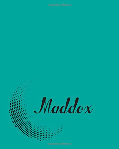 Maddox: Dot Grid 5 mm Spacing 110 Pages 8x10 Inches turquoise Circle Dot Design with Lettering Name, Maddox