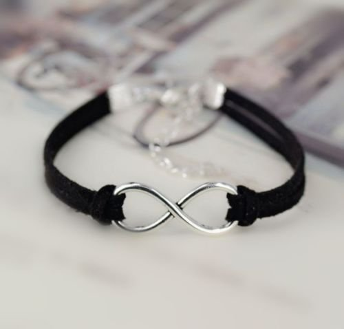 New Infinity Lucky 8 Friendship Handmade Leather Bracelet Bangle Jewelry Gift EW (Black)