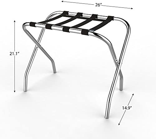 Amazon Com Chrome Folding Luggage Rack And Suitcase Stand Durable Folding Bag Holder With Black Nylon Straps By Lavish Home Home Kitchen