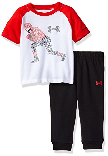 (Under Armour Baby' Short Sleeve Tee and Pant Set, White (3005) / Red/Black/White, 18 Months)