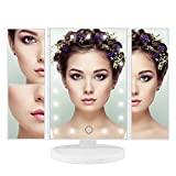 ISASSY Vanity Makeup Mirror Tri-Fold 21 LED Lights Touch Screen 1X / 2X / 3X Magnification and USB Charging 180 Degree Adjustable Free Rotation