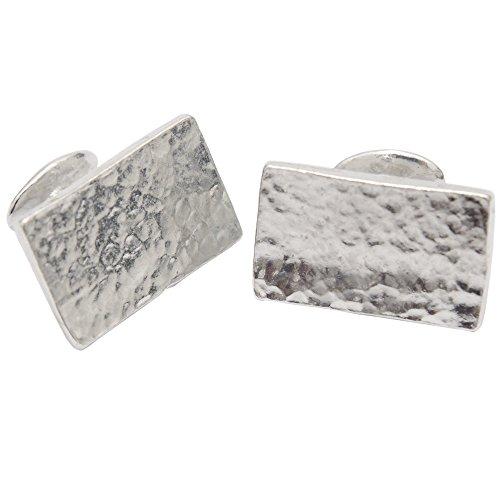 10th Wedding Anniversary Gift - Rectangle Beaten Rectangle 100% Pure Tin Cufflinks (Anniversary For Men Gifts Tin)