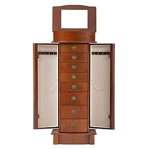 BestMassage Jewelry Cabinet Jewelry Chest Jewelry Armoire Wood Jewelry Box Storage Stand Organizer Side Doors 8 Drawers Makeup Mirror