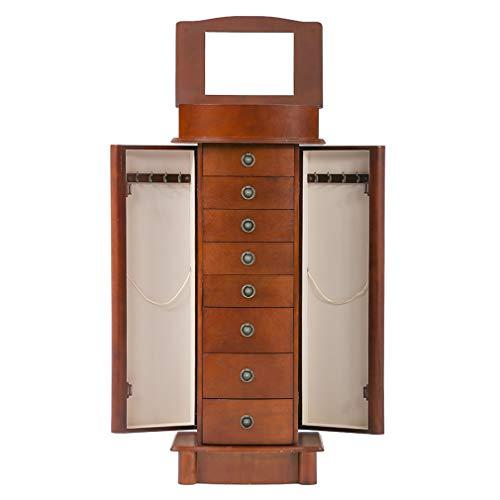 BestMassage Jewelry Cabinet Jewelry Chest Jewelry Armoire Wood Jewelry Box Storage Stand Organizer Side Doors 8 Drawers Makeup Mirror -