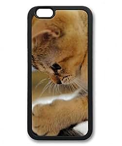E-luckiycase TPU Supple Shell Cat Animals 7 Black Skin Edges for Iphone 6 Plus Case
