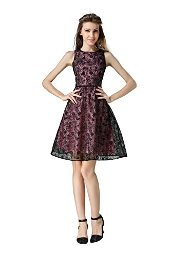 Little Smily Women's Fit and Flare Textured Lace Cocktail Party Skater Dress, Black & Pink, M Pink Flowered Sleeveless Dress