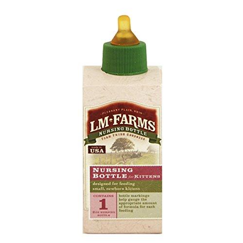 LM Farms Nursing Bottle for Newborn Kittens, 2 Ounce (3 Bottles)
