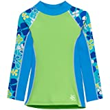 Tuga Girls Shoreline L/S Rash Guard (UPF 50+), Aqua Green, 4/5 yrs