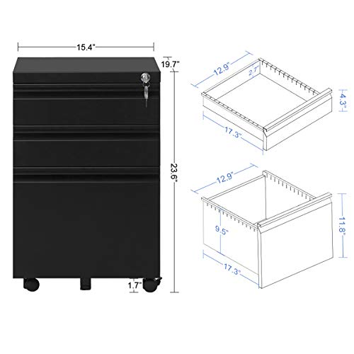 Devaise 3 Drawer Mobile File Cabinet With Lock 19 7