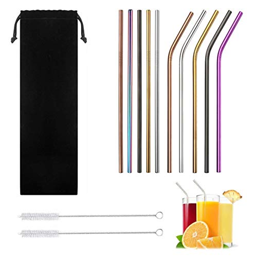 UPONE Reusable Stainless Steel Straws,Set of 10 Extra Long 10.5'' Metal Drinking Straws with 2 Brushes and Carry Bag,Environment-Friendly Straw for 20/30oz Tumblers,Beverage,Starbucks,Mason Jar