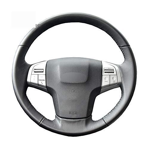 ZHOUMOFXP Black Leather Car Steering Wheel Cover,for Isuzu D-MAX 2013-2018 mu-X 2013-2018 Holden Colorado (AU) 2012-2019