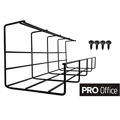 Under Desk Cable Tray - Super Sturdy Cable Organizer for Wire Management. Metal Wire Cable Tray for Office, Studio and Home (Black, 16'')