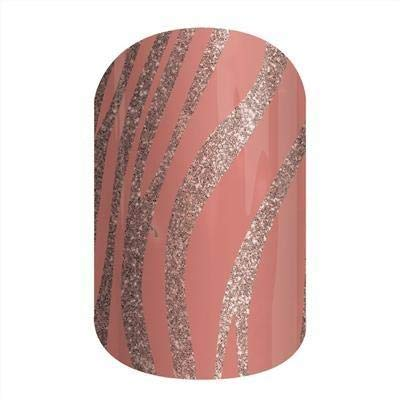 (Jamberry Nail Wraps - Painted Zebra - Full Sheet - Gold Sparkle Animal Print on Pink Peach Mauve)