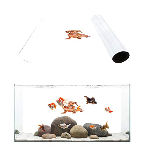 (Fantasy Star Aquarium Background Cute Dachshund Fish Tank Wallpaper Easy to Apply and Remove PVC Sticker Pictures Poster Background Decoration 16.4