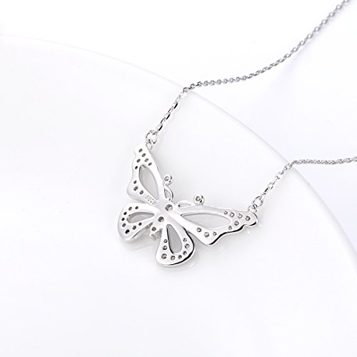 LINLIN FINE JEWELRY 925 Sterling Silver White Cubic Zirconia Butterfly in Heart Pendant Necklace Gift for Women Girls, 18'' (Butterfly) by LINLIN FINE JEWELRY (Image #4)