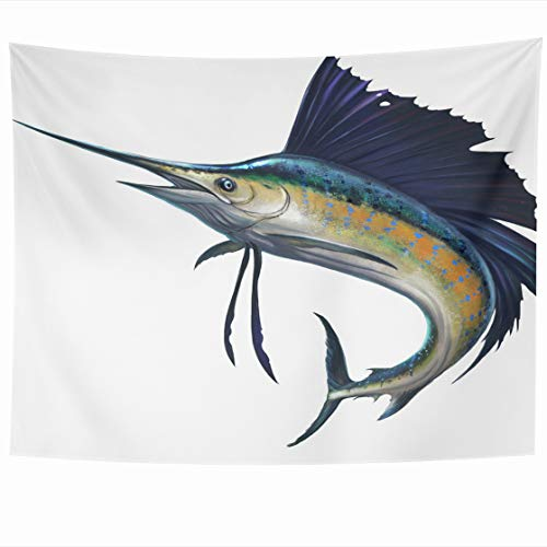 Franciscan Tapestry - AlliuCoo Wall Tapestries 60 x 50 Inches Blue Marlin Sailfish White Black Atlantic Fish Home Decor Wall Hanging Tapestry Living Room Dorm