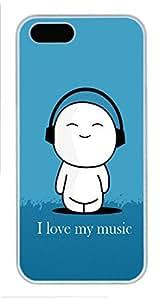 Unique iPhone 5S Pc White Edge Case - I Love Music Personalized iPhone Cover
