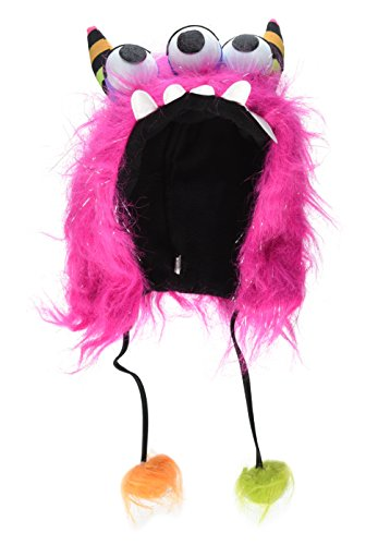 Amscan Neon Bright Electric Party Furry Monster Hoody (1 Piece), One Size, Pink (Furry Hoods)