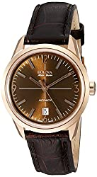 Bulova Men's Automatic Stainless Steel and Leather Casual Watch, Color:Brown (Model: 64B124)