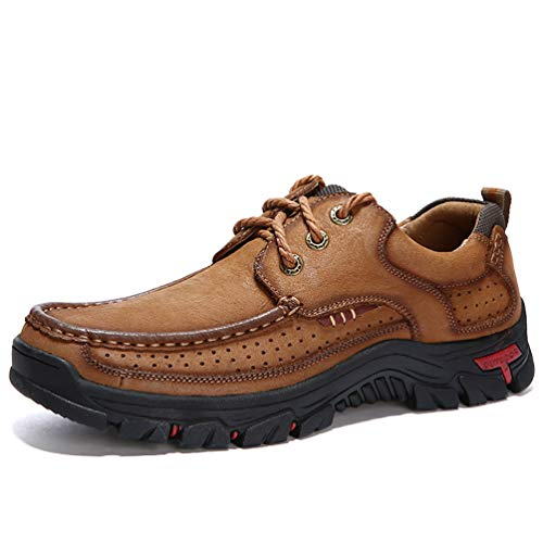 COSIDRAM Men Casual Walking Shoes Fashion Driving Shoes Luxury Genuine Leather Brown Khaki Leisure Sneakers Breathable Comfort Shoes for Male Business Work Office Dress Outdoor