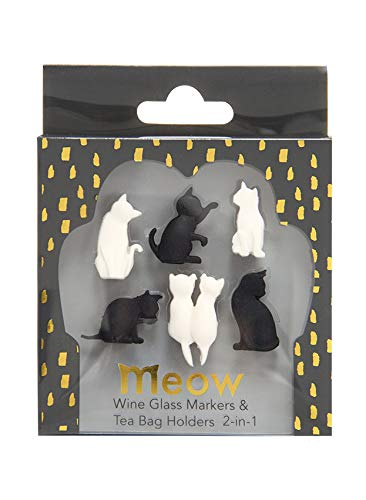 Wine Glass Markers with Colorful and Stylish Design - Set of 6 (Cat)