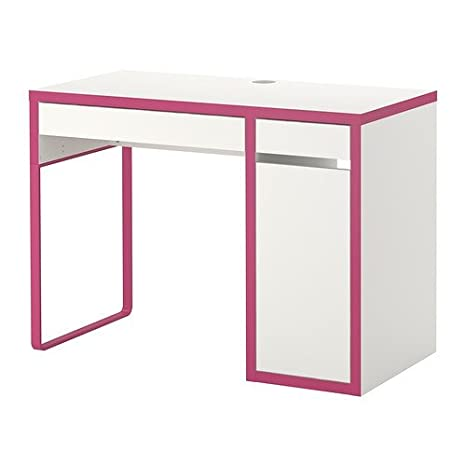 IKEA MICKE scrivania in bianco/rosa; (105 x 50 cm): Amazon ...