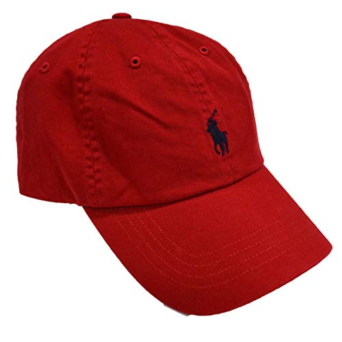 Clip Twill (Polo Ralph Lauren Classic Twill Baseball Cap Adjustable Back Hat Red Navy Blue Embroidered Player Logo)