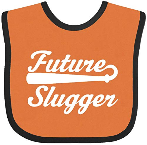 Inktastic - Baseball Future Slugger Baby Bib Orange and Black 1f498