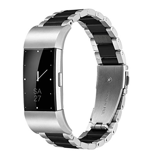 (Fitbit Charge 2 Wrist Band,Shangpule Stainless Steel Metal Replacement Smart Watch Band Bracelet with Double Button Folding Clasp for Fitbit Charge 2 (Silver + Black))