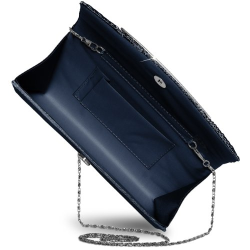 Clutch Azul Mano de TA289 Satén para Strass Brillante con CASPAR Colores de Varios Oscuro Mujer Bolso qwBYWgq6xU