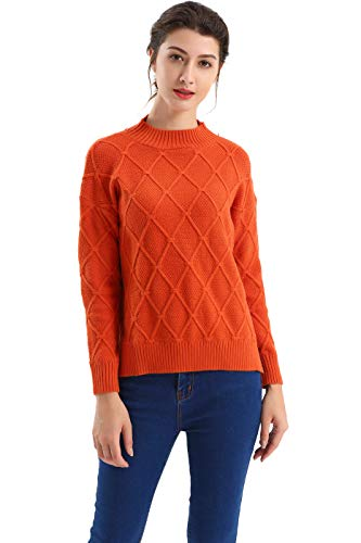aa69cc0e686eff BodiLove Women's Classic Fit Crew Neck Diamond Knit Sweater