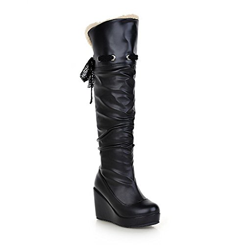 Balamasa Mujeres High-heels High Top Solid Pu Botas De Nieve Negro