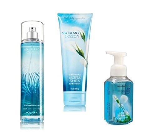 Bath and Body Works - Signature Collection - Sea Island Cotton - Fine Fragrance Mist, Ultra Shea Body Cream & Gentle Foaming Hand Soap Trio (Sea Island Cotton Hand Soap)