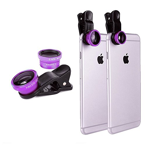 Purple Universal Clip-on 180 Degree 3 in 1 Fisheye+Wide Angle+Macro Camera Lens Kit for iPhone 5 5S 4 4S 6 Samsung Galaxy S5/S4/S3 Note 4/3/2 HTC BlackBerry Bold Touch, Sony Xperia, Motorola Droid