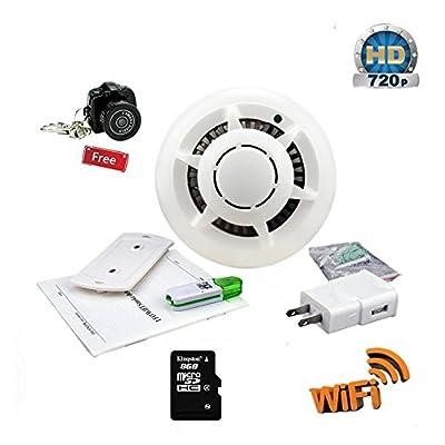 KOAMLY Hidden Spy Camera, Smoke Detector Wifi IP Camera Camcorder Video Recorder Security DVR Motion Detection, Wireless Nanny Cam HD Surveillance Camera ( White)