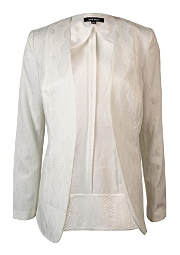 Nine West Women's Collarless Textured Jacquard Open-Front Blazer (14, Ivory)