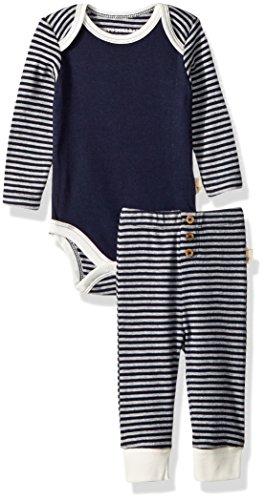 Burt's Bees Baby Unisex Bodysuit and Pant Set, 100% Organic Cotton, Midnight Stripe, Newborn