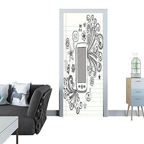 Anmaseven Automatic Door Sticker Mobile Cell Phone PDA Sketchy Doodle Vector Design Sticker for Door 30x79(77x200 cm) ()
