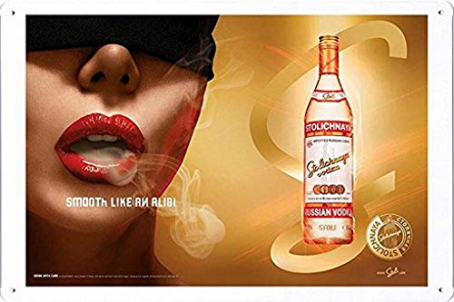 MarinaPolly Tin Sign Metal Poster Plate of Stolichnaya Vodka: Lips by Food & Beverage Decor Sign - 8×12 Inches