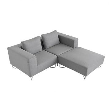 Softline Lotus Sofa Zweisitzer Mit Ottomane Grau Inkl 2 Kissen