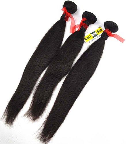 Best-buy-box Genuine Human Remy Virgin Hair Extension, Brazilian Weft Weaving Hair Straight, 3 Bundles Wholesale, 16'-30' Mixed Length 300gram/ Lot, #1b Black (24 26 26)