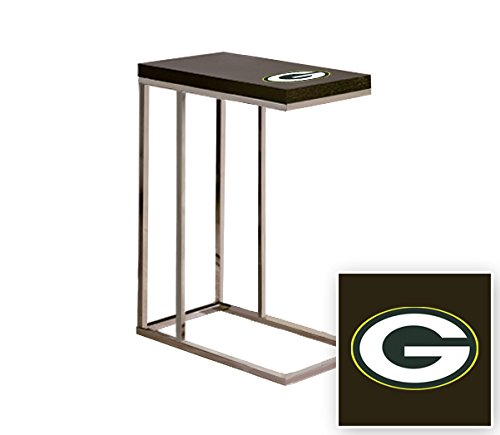 Black Laminate (Formica) and Chrome Finish Slide-Under TV Tray/End Table with Your Choice of Football Team Logo (Slide Shelf Laminate)